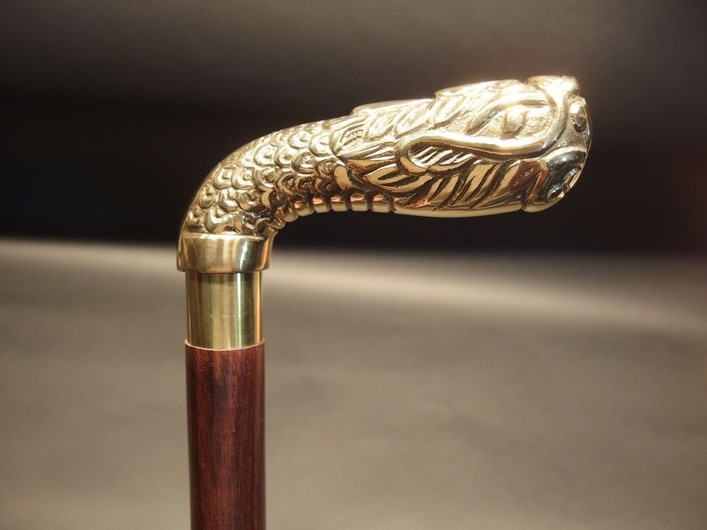 Vintage Antique Style Brass Wood Victorian Walking Stick Cane