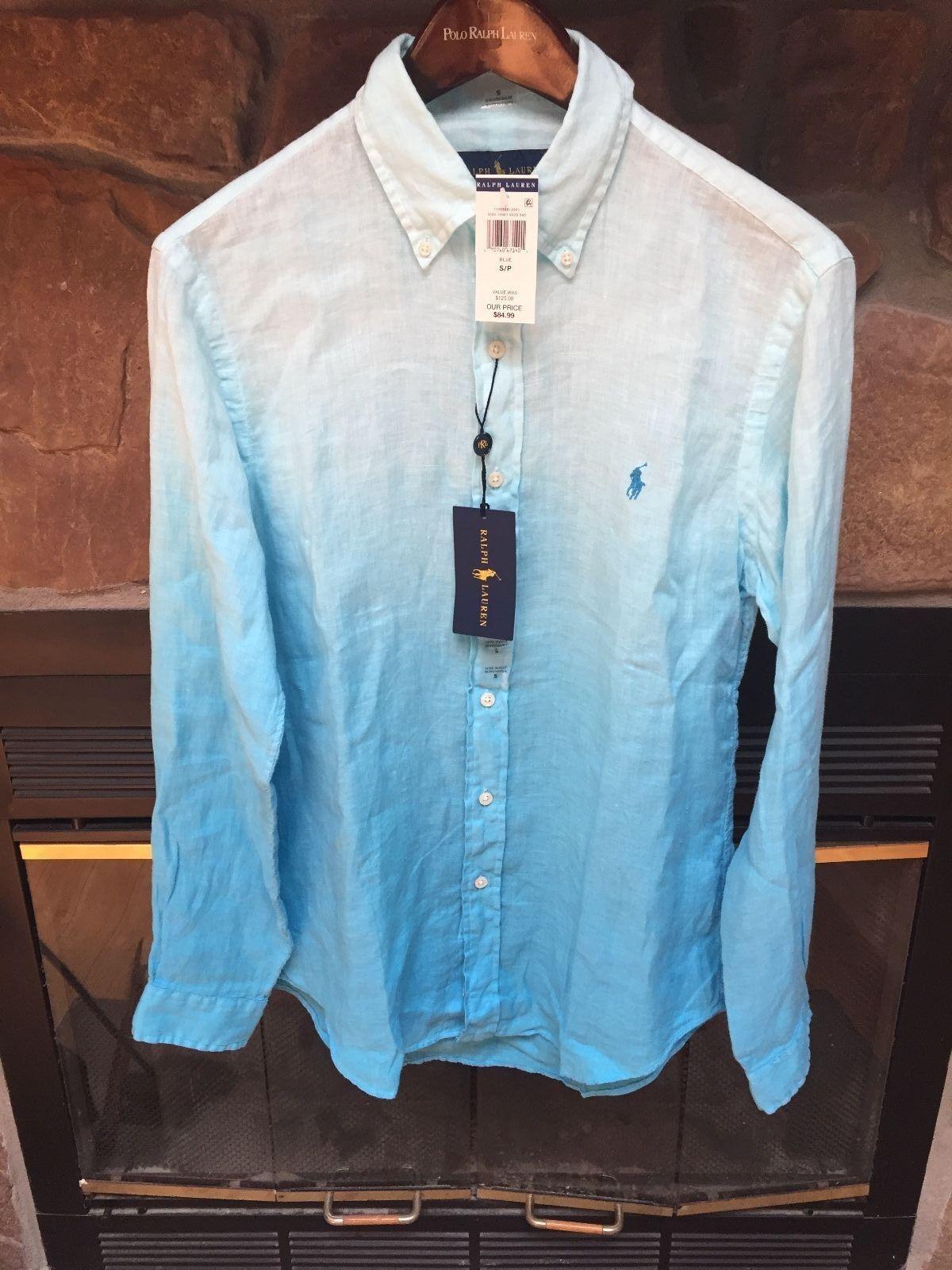 e75174ea Polo Ralph Lauren Linen Button Down Long Sleeve Shirt BLUE OMBRE SZ SMALL  NWT