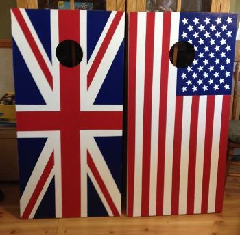 Union Jack and US flag Custom Made Corn hole Boards - These Cornhole boards are handcrafted, hand painted and custom made for each of our customers. Free set of cornhole bags are also provided for $169.99. They make great gifts for anyone for any occasion! We love custom orders and will make your team, theme or wedding. Contact us at www.fscustomcraftcreations.com...