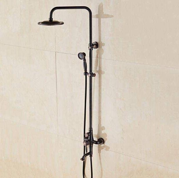 Photo of Shower Faucets Oil Black Bathroom Shower Set Wall Mount Hand Brass Shower Head Shower Set …