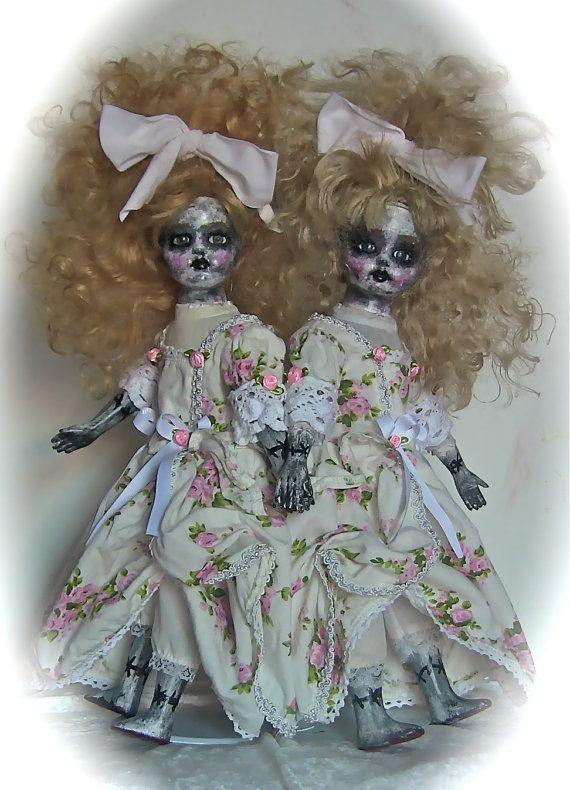 OOAK Porcelain Siamese Twins Dolls inspired by by DREADFULDOLLS216