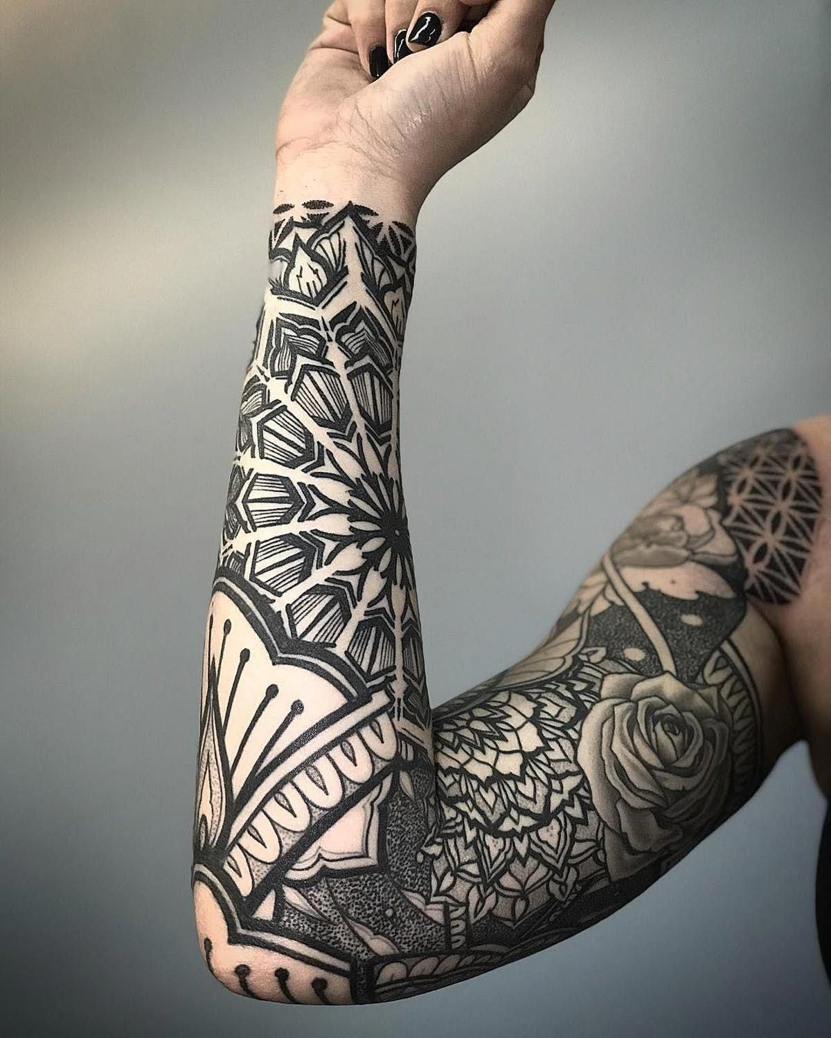 Mandala Pattern Sleeve Dotwork Blackwork Geometric Ornamental Mandalatattoo Geometrictattoo Sl Best Sleeve Tattoos Pattern Tattoo Full Sleeve Tattoos