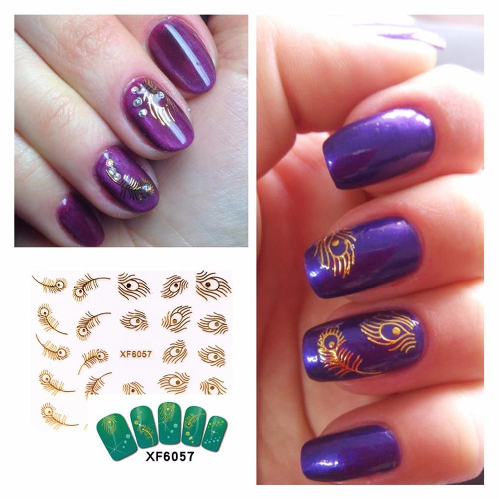 Visit to Buy] ZKO 1 Pc Optional 3D Nail Stickers Beauty Gold Design ...