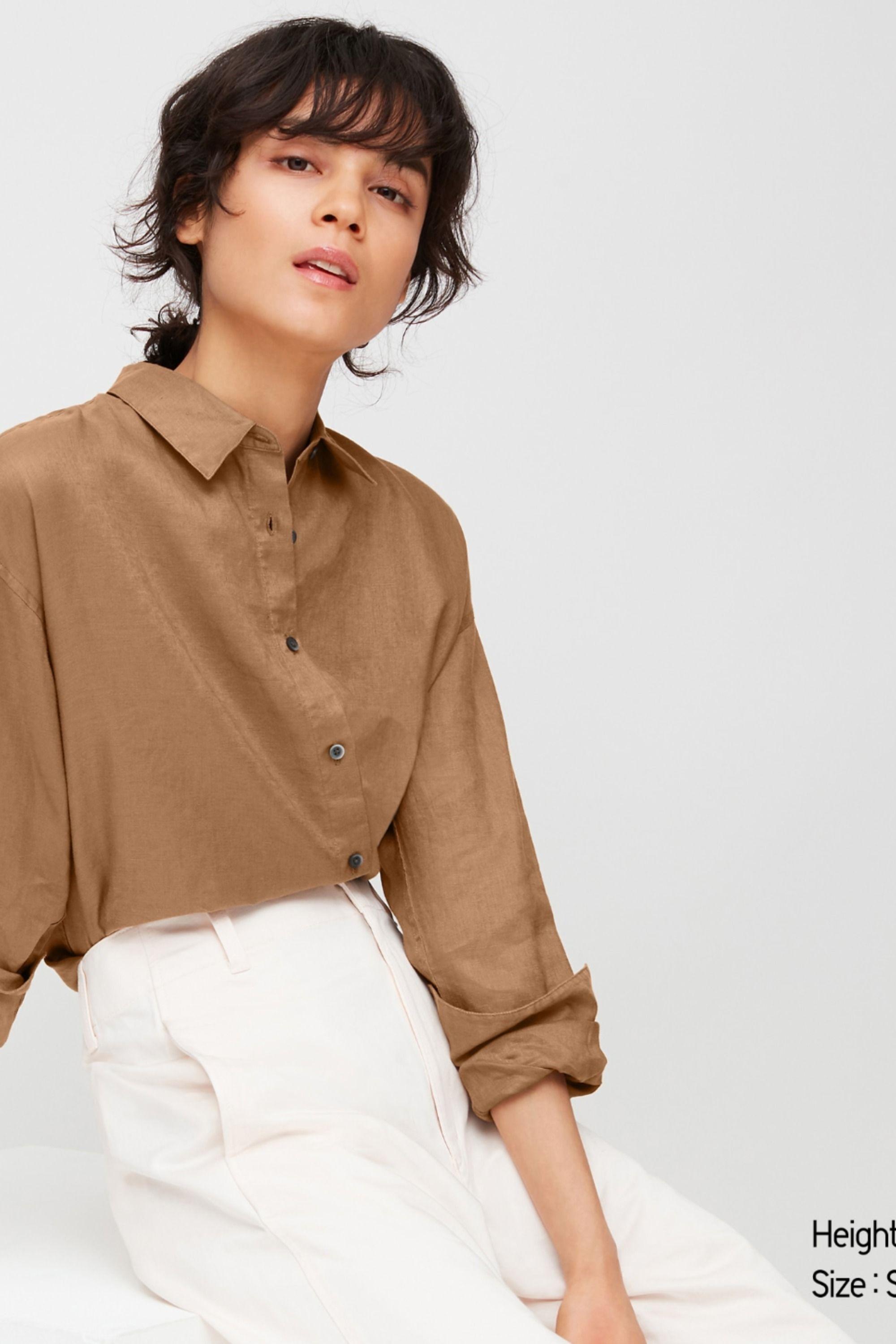 Women 100 Premium Linen Long Sleeved Shirt Uniqlo Uk Linen Women Long Sleeve Shirts Linen Shirt [ 2999 x 2000 Pixel ]