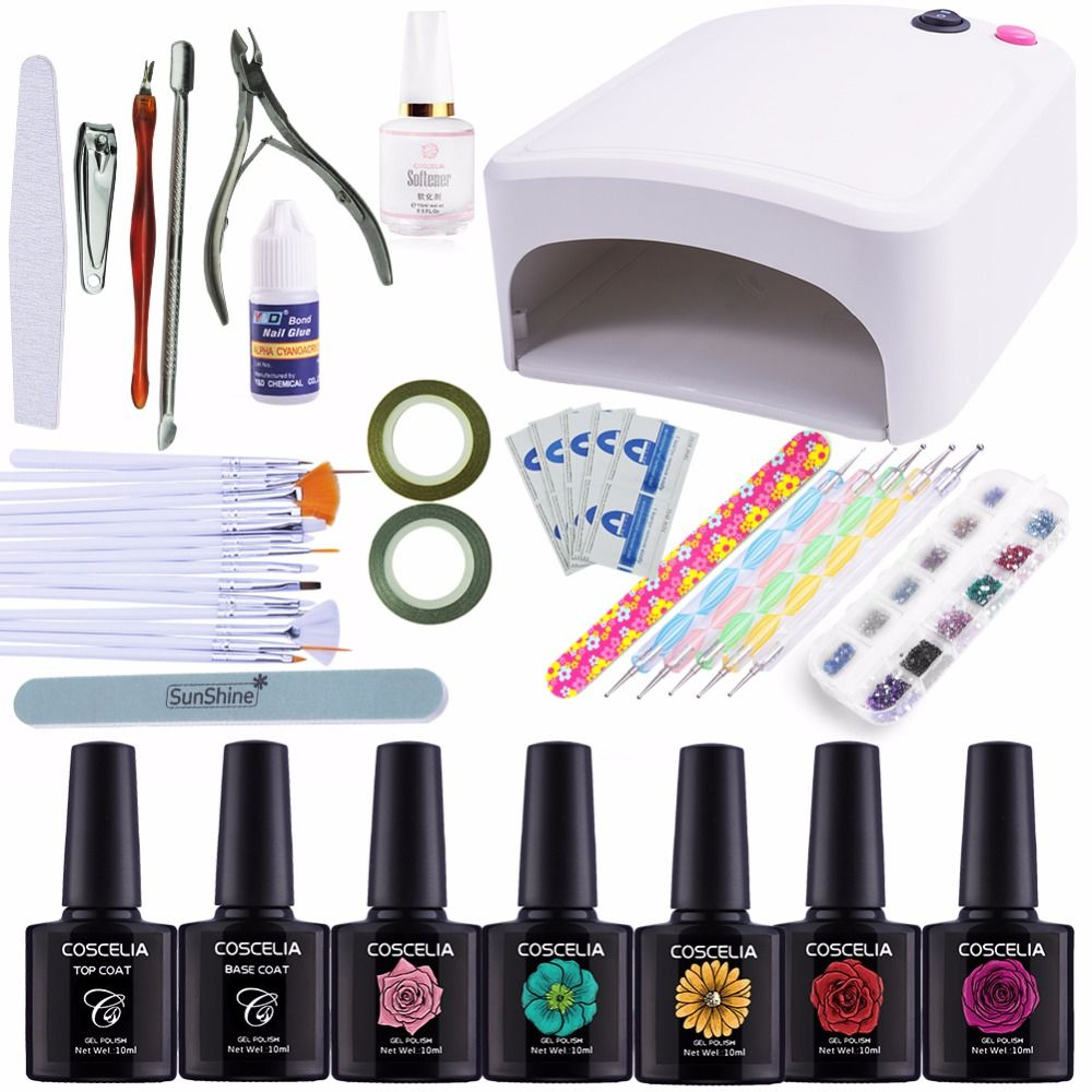 Nail Art Kits Manicure Set 36w Uv Lamp Dryer Nail 5 Colors Soak Off Gel Nail Polish Varnish Base Top Coat Polish R Soak Off Gel Nails Nail Art Kit Manicure Set
