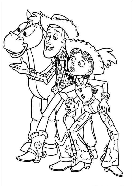 Toy Story Woody And Jessie Toy Story Coloring Pages Cartoon