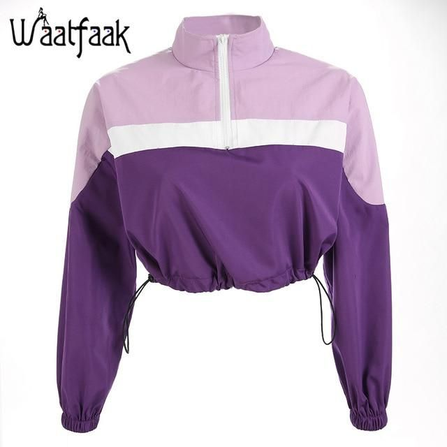 f507d0ed6d4b8 Waatfaak Female Sweatshirts Loose Crop Top Hoodie Patchwork Turtleneck  Zipper Autumn Fashion Purple Long Sleeve Sweatshirt Women