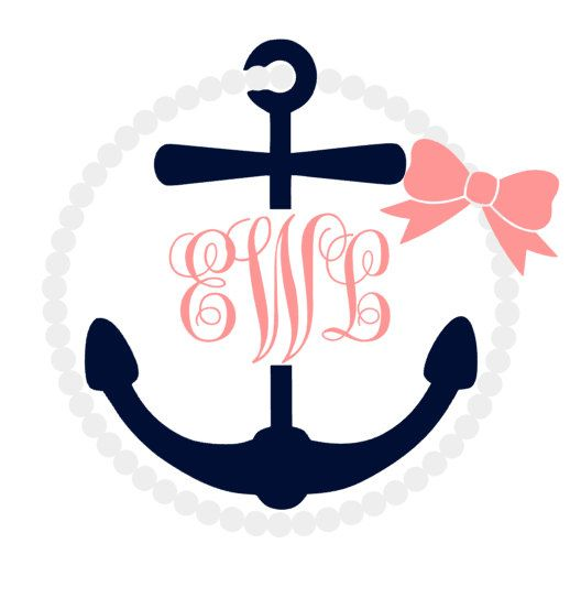 Anchor Monogram With Pearl Bow Frame Monograms Personalized - Anchor monogram car decal
