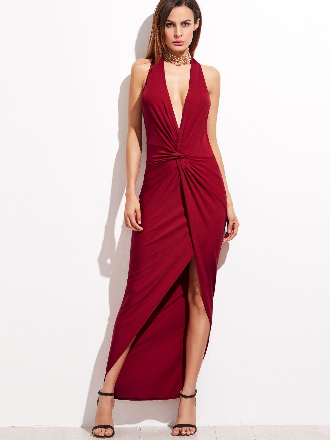 Adorewe shein dresses shein burgundy halter plunge neck twist