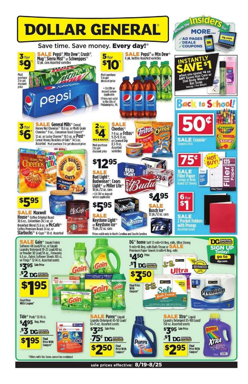 Dollar General Weekly Ad Flyer January 20 26 2019 Dollar