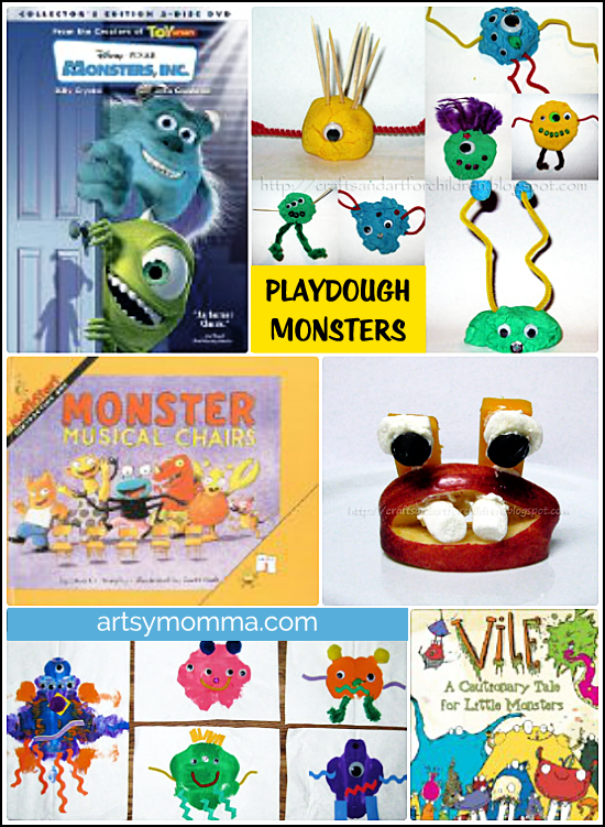 Fun monster crafts and activities: paint blob monster, playdough monsters, Monsters Inc, books, and an apple monster!