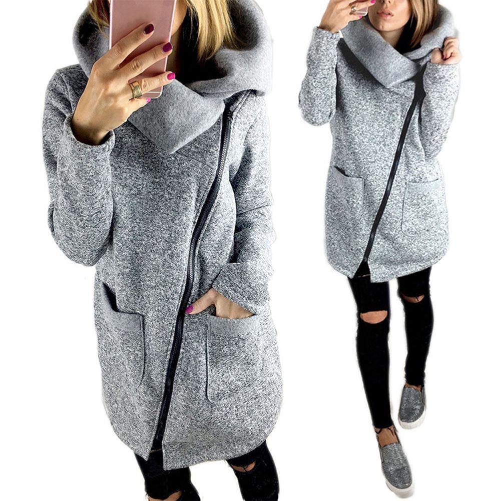Free Shipping Women Autumn Winter Clothes Warm Fleece Jacket Slant ...