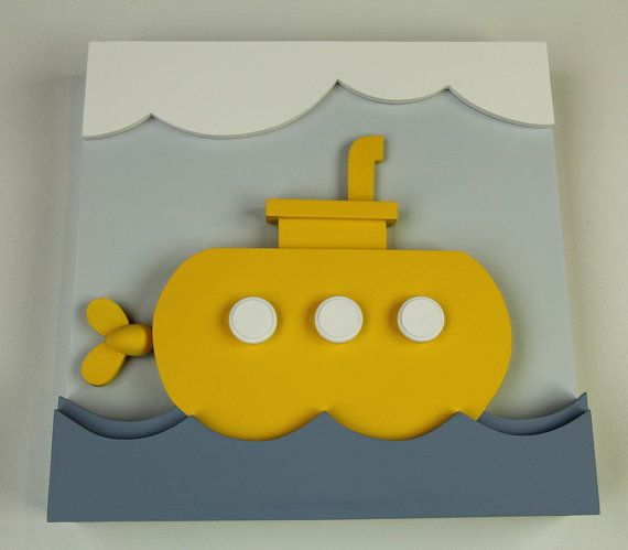 3D Wood Yellow Submarine Wall Decor for Kids by EleosStudio | Sea ...