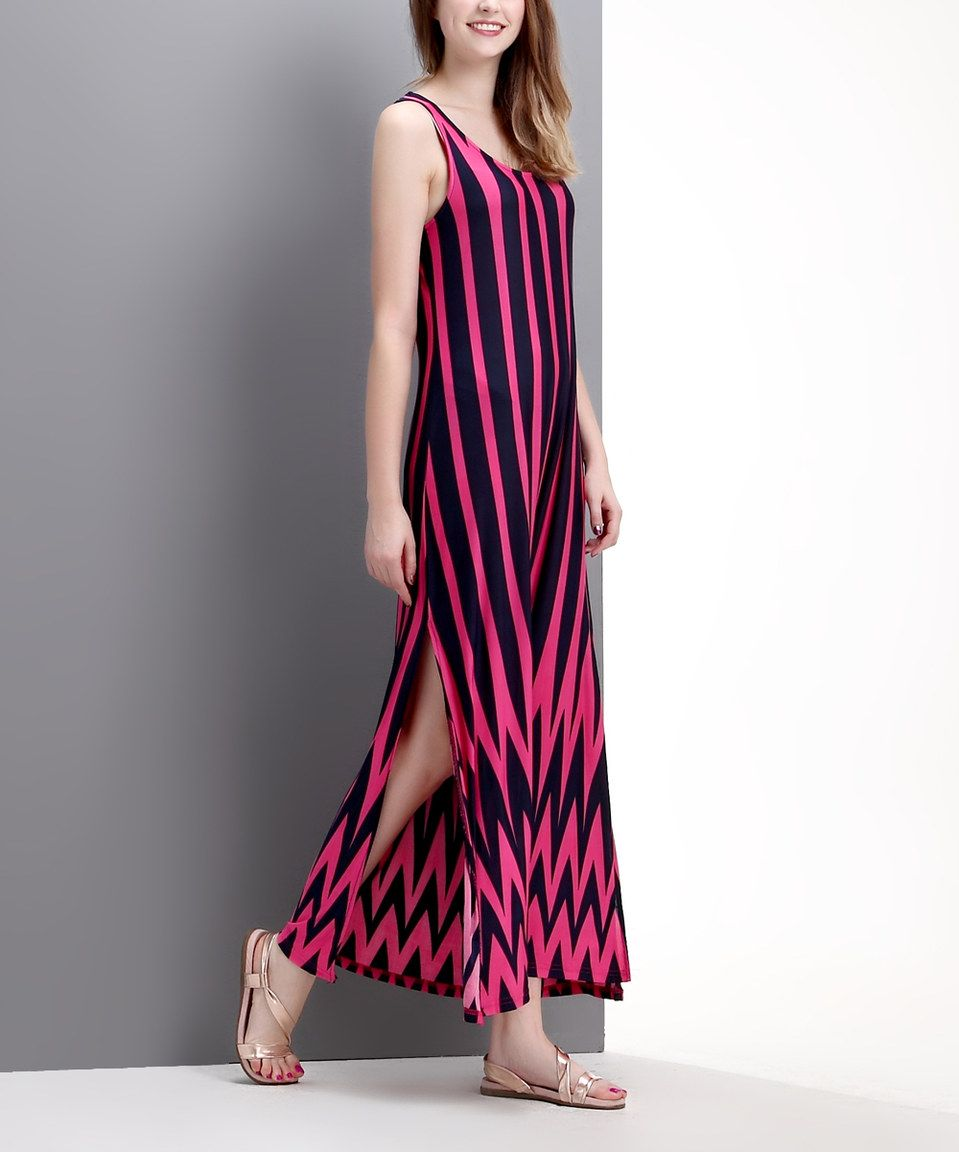 82eb0af56cc5 Another great find on  zulily! Fuchsia   Navy Chevron Scoop Neck Maxi Dress  by Reborn Collection  zulilyfinds