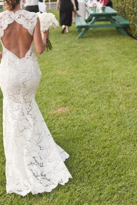 Trumpet Sleeveless Lace Sweep Train Bare Back V-neck Wedding Dress #wedding #dress #gown