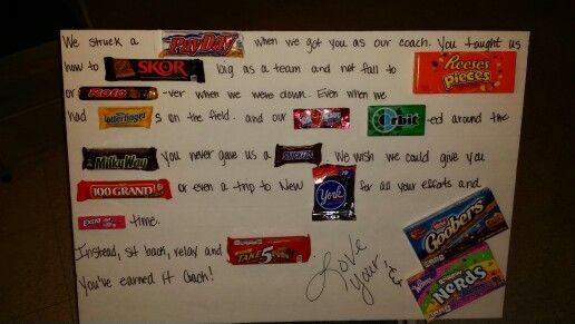 Candy gram card for a softball coach | Softball coach ...