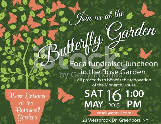 Garden Party Invitation Template - Fundraiser royalty-free stock - fundraiser template free