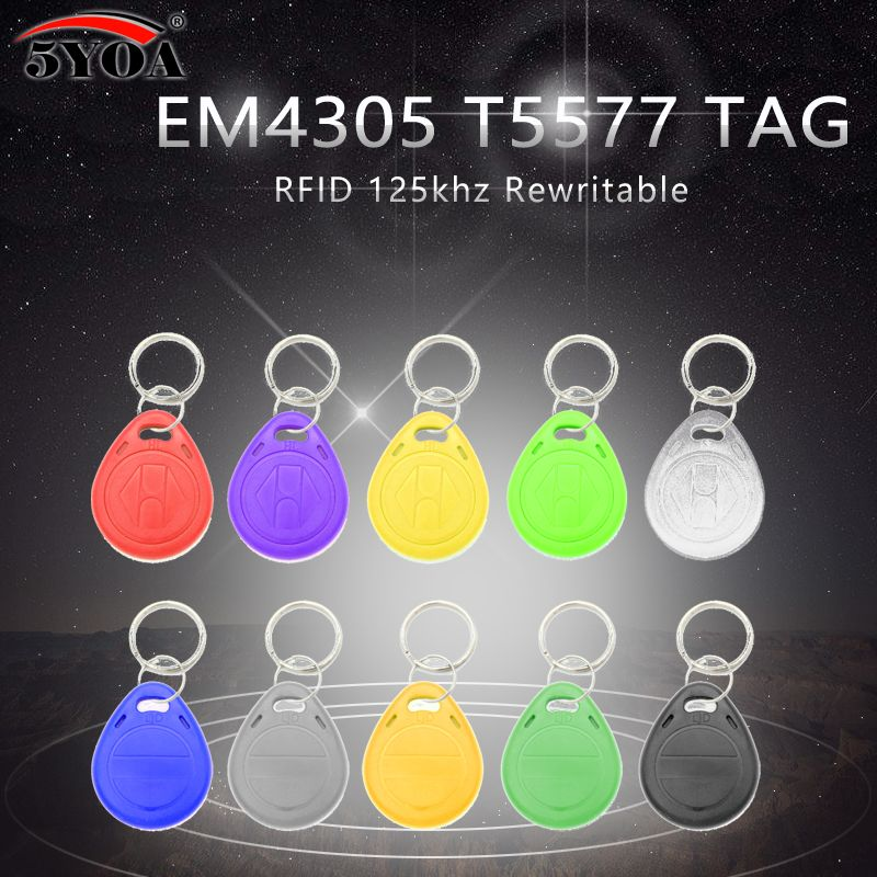 50pcs Em4305 T5577 Copy Rewritable Writable Rewrite Duplicate Rfid Tag Can Copy Em4100 125khz Card Proximity Token Keyfobs Ring Rfid Tag Rfid Nfc Sticker