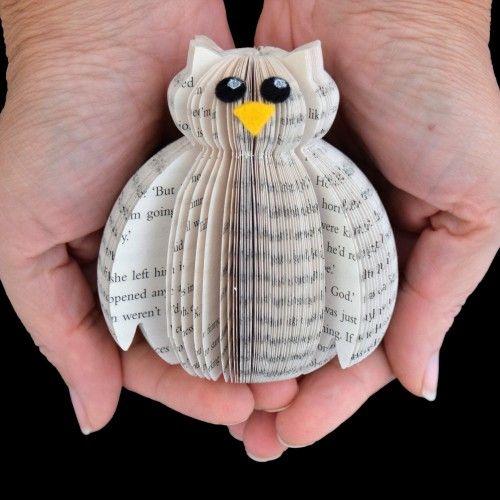 Mini Book Art Owl in Presentation Box   Old book crafts