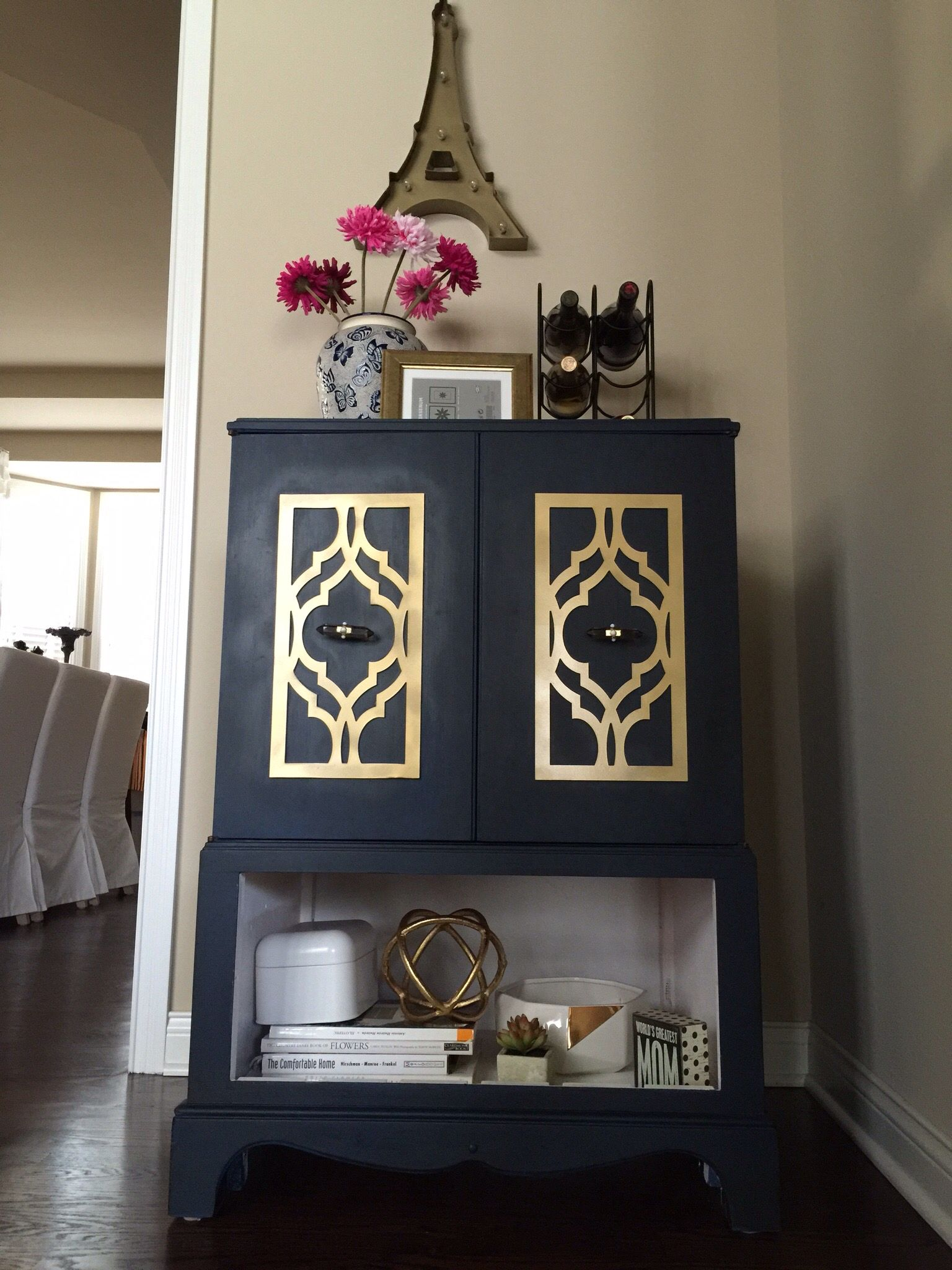 Repurpose Old TV Cabinet To A Mini Bar. Used Annie Sloan Chalk Paint And  Overlays