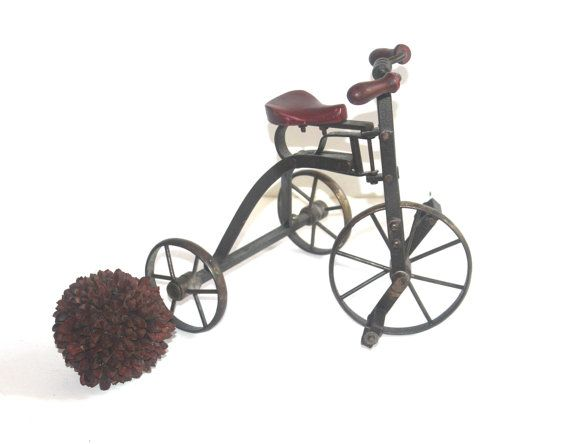 Vintage English Steel Miniature Tricycle by AntiqueAlchemyShop