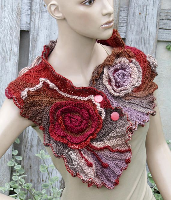 Flower cowl,Christmas gift, For her, Roses Cowl, Winter bridal scarf ...