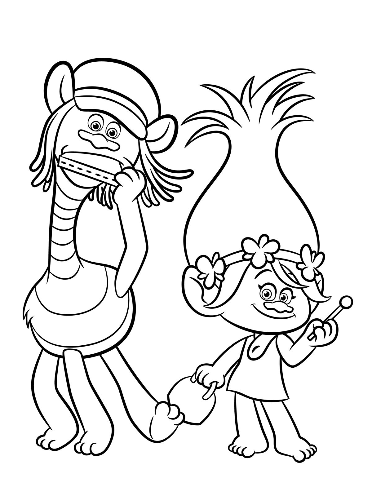 Trolls Coloring pages to download and print for free