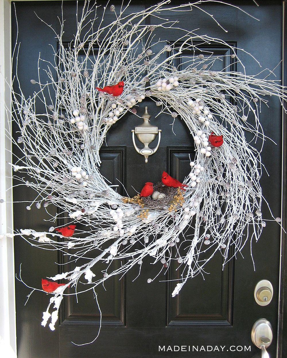 Photo of Snowy Red Cardinal Winter Wispy Wreath