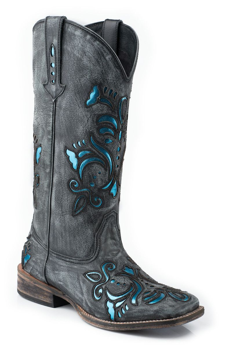 aed2ec0786a Roper Womens Cowboy Boots Black Square Toe Sanded Leather Western ...