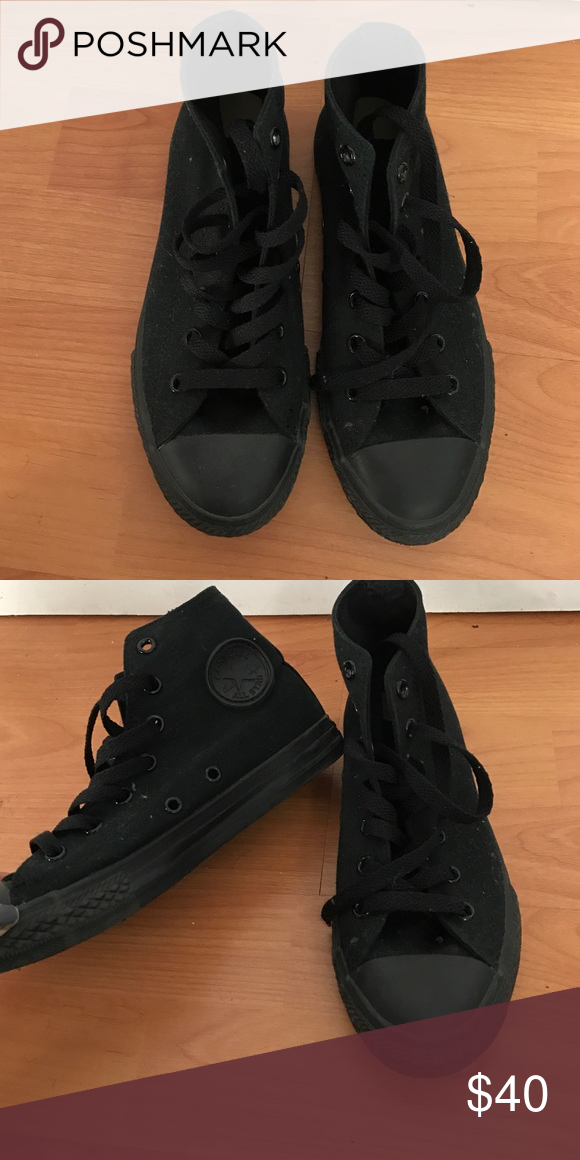 All Black Converse Size 2.5Y, fits a size 5 in women's, never worn Shoes Sneakers
