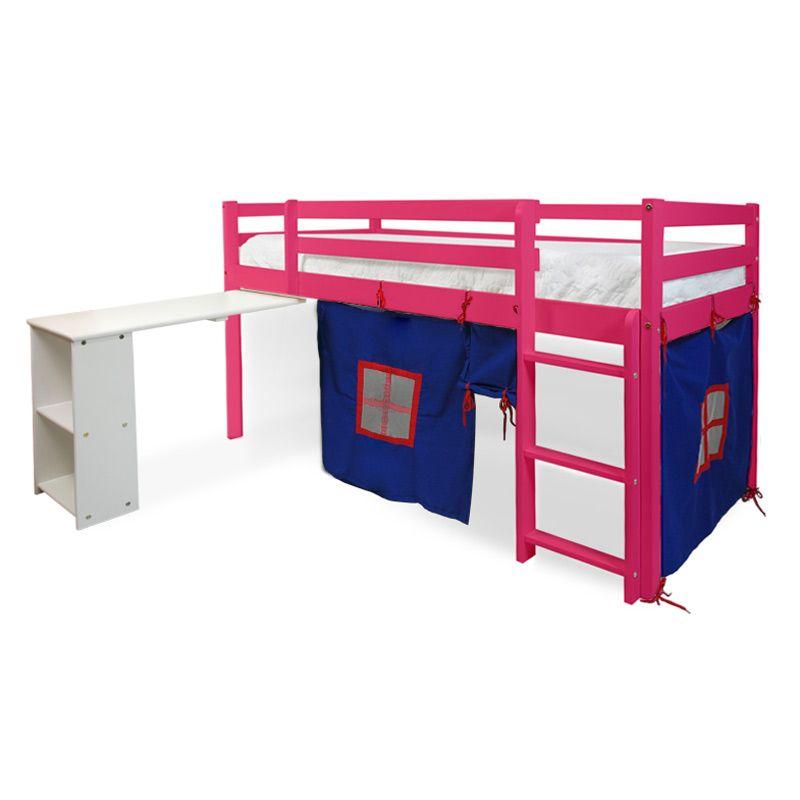 Cama Alta com Escrivaninha Retrátil Estrutura Rosa em Madeira Maciça e Cabana Azul Linha Dicolori - Bresolin