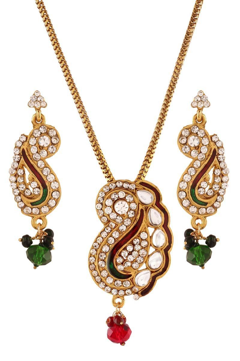 Multi gold plated austrian diamond pendant set products