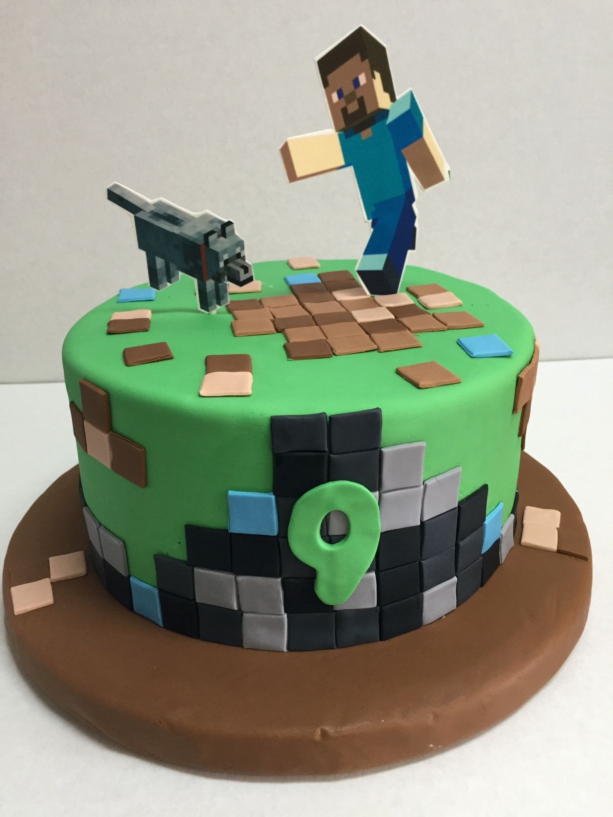 Minecraft Round Birthday Cake With Fondant And Edible Image