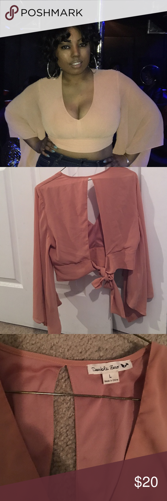 Cute trendy crop dressy shirt Salmon color crop shirt! That's me seen with the top for a girls night out. Double Zero Tops Crop Tops
