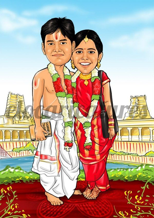 Wedding Caricatures By Elo Caricatures Via Behance Caricature Wedding Wedding Caricature Indian Wedding Couple