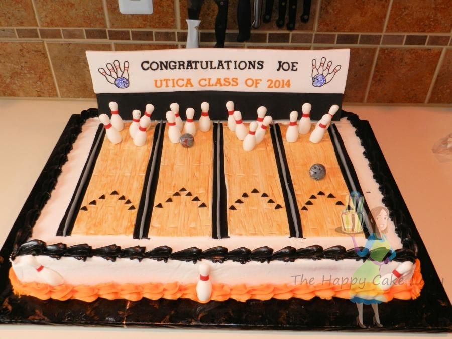 Cool Bowling Alley Grad Cake With Images Bowling Birthday Cakes Personalised Birthday Cards Paralily Jamesorg