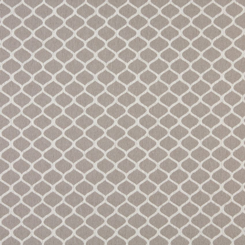 Natural Small Trellis On Beige Heavy Linen Upholstery Fabric