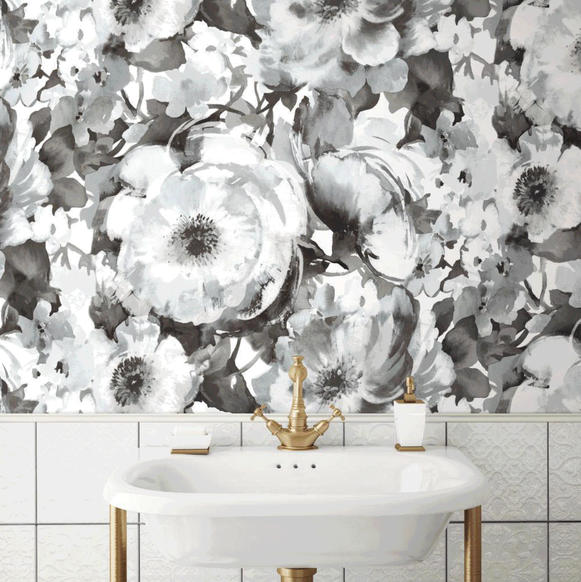 York Wallpapers Peel And Stick Wallpaper Large Floral Wallpaper Watercolor Floral Wallpaper