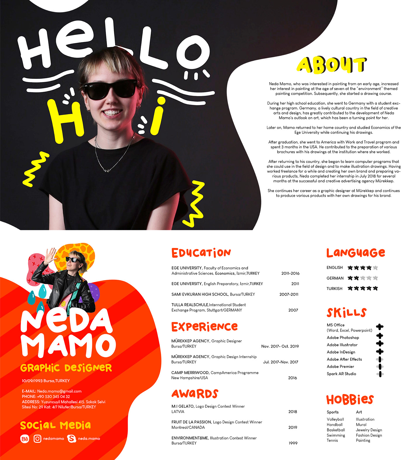 Graphic Designer Cv Portfolio In 2020 Graphic Design Cv Resume Design Creative Cv Design