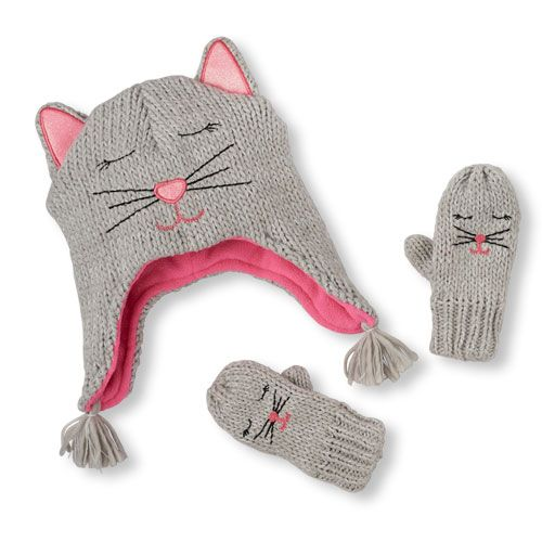 Baby Girls Toddler Shimmery Kitty Hat And Mittens Set - Gray - The Children s  Place c2725a13913