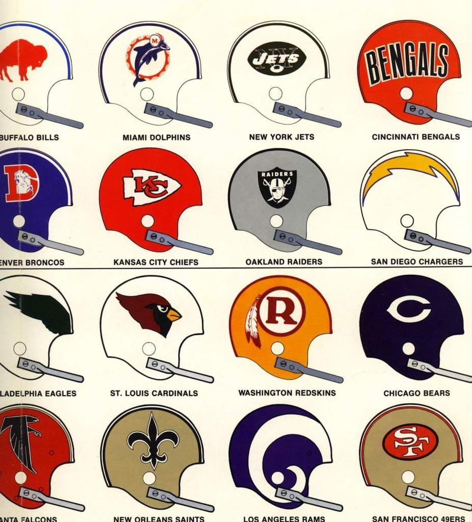 Vintage NFL helmet designs. Nfl football helmets, Nfl