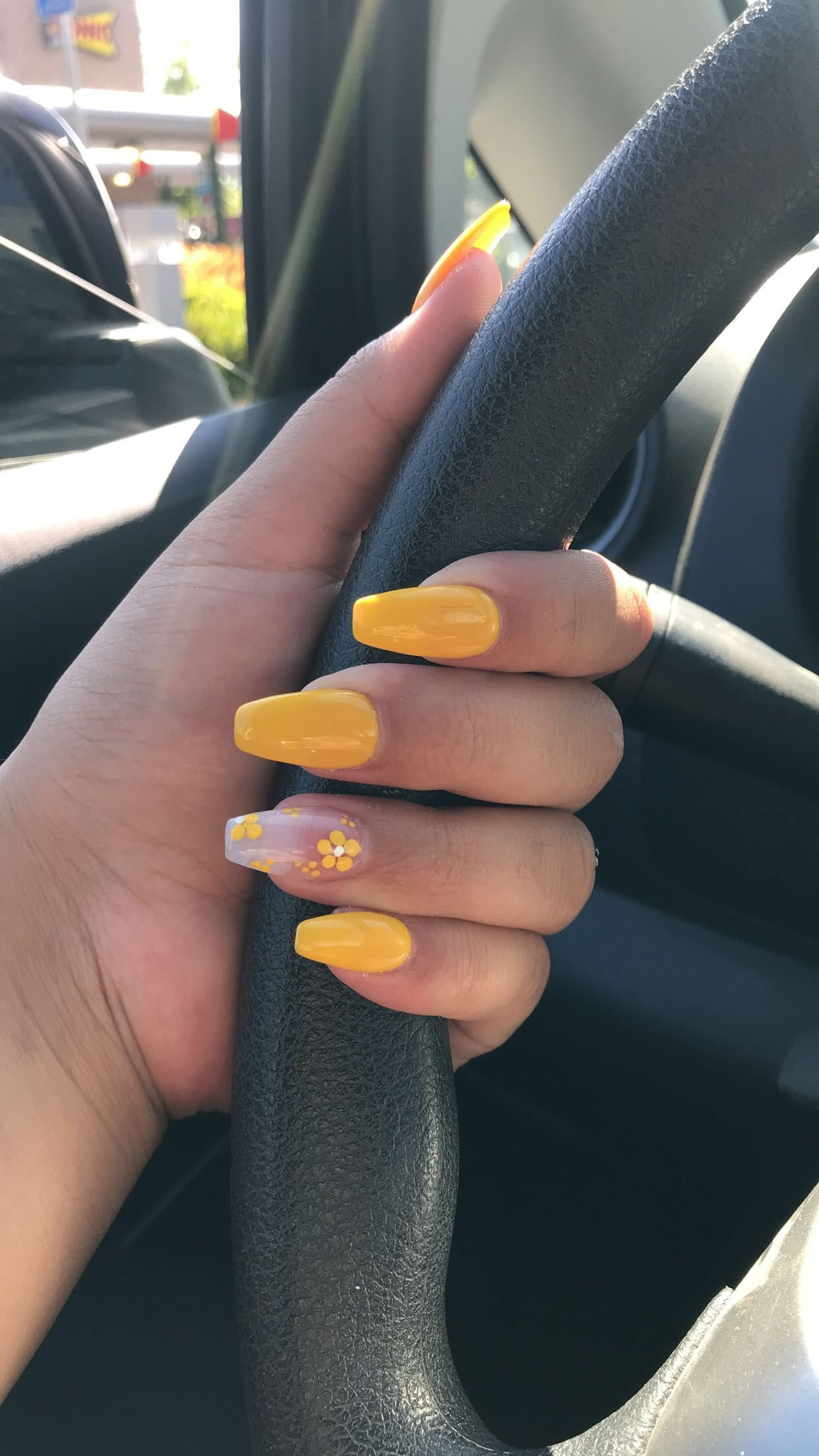 Yellow Acrylic Nails With Flower Summer Time Summer Acrylic