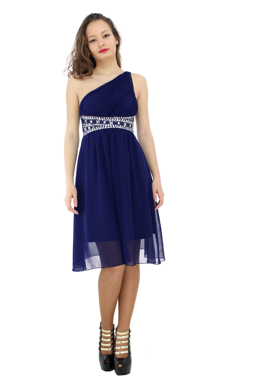 1a5dfa117 Vestido de gasa Azul con escote a un solo hombro con detalles en pedrerías  y brillantes