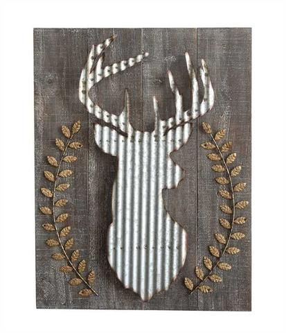 Wood & Corrugated Metal Deer Wall Décor | Christmas Cheer ...