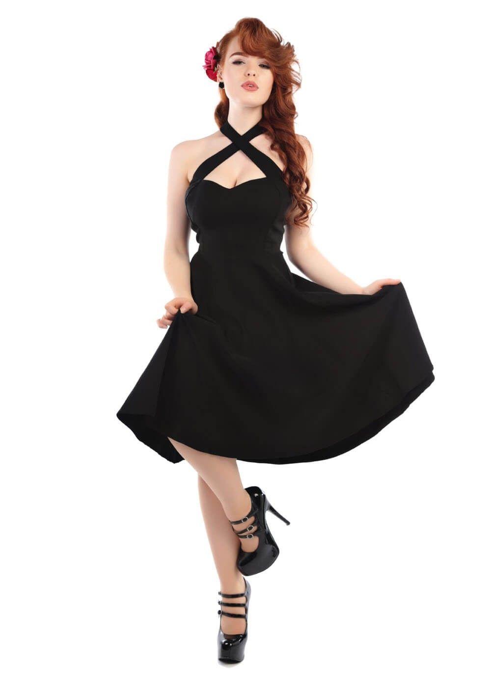 Collectif Penny Flared Dress Black Rockabilly Swing Dress Vintage Flare Dress Vintage Dresses [ 1400 x 1000 Pixel ]