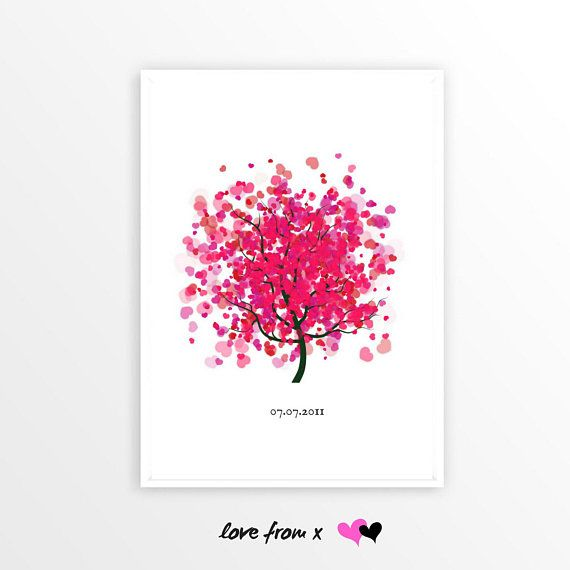 Wedding Tree With Hearts Wedding Day Gift Anniversary Gift For