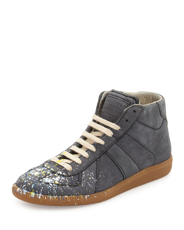 f1b4374ee1c Replica Men's Paint Splatter Mid-Top Sneakers Gray | *Neiman Marcus ...