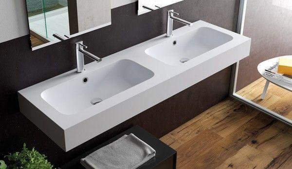 Encimera Resina Mineral Solid con lavabo doble   Baños de autor ...