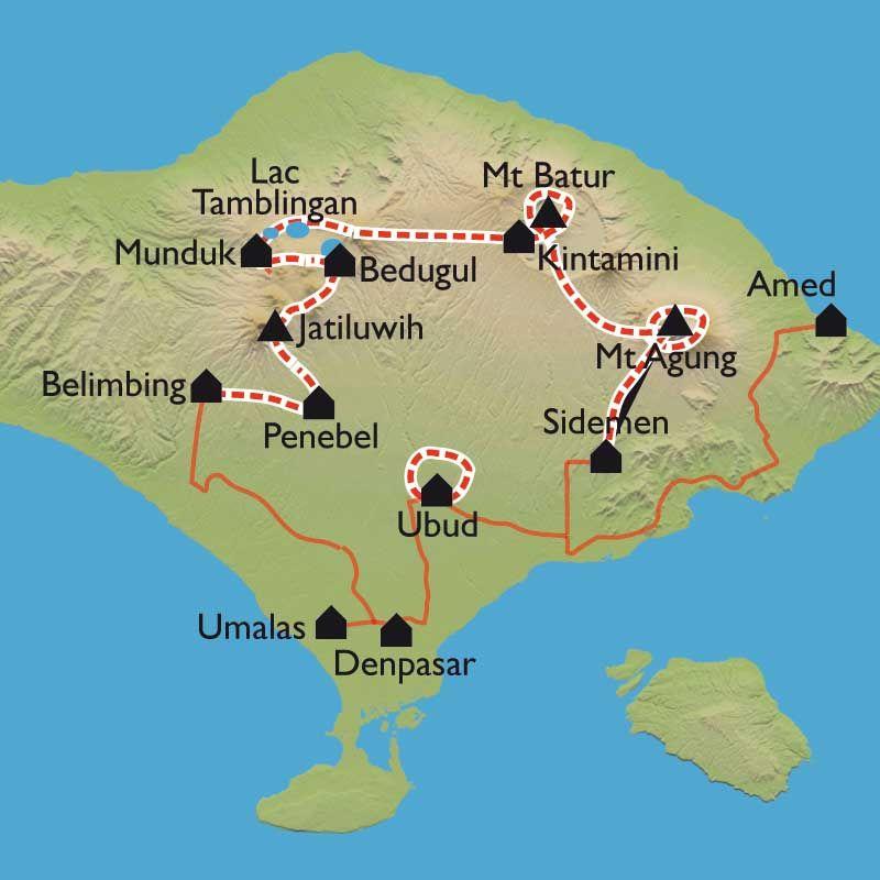 Carte Bali, la traversée | Bali carte, Voyage indonesie