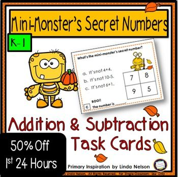 Heres a set of 24 subtraction task cards that will strengthen your kindergarten and first grade students skills in adding and subtracting, one through ten. Choosing from four numbers, your students will determine the fall Mini-Monster's (cute monsters, not scary ones! :) ) by eliminating three of the options.